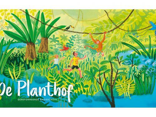 Huisstijlillustratie voor basisschool De Planthof - 2018